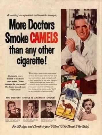 M??dicos fumam CAMEL mais do que qualquer outra marca de cigarros.