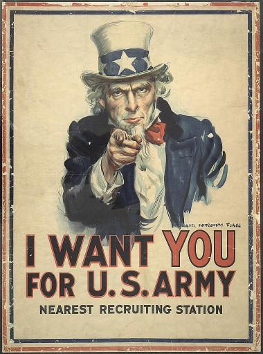 Quero você nas forças armadas. James Montgomery Flagg -1917.